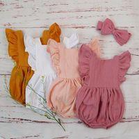 Organic Cotton Baby Girl одежда лето новый двойной марли Дети Сборки Ромпер Комбинезон оголовье Dusty Pink Для Новорожденных легкий костюм с шортами 3M