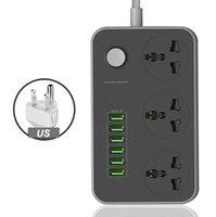 ISO Universal Power Strip Socket Socket Portable Strip Adaptateur 6 USB Port US / Royaume-Uni / UE Multifonctionnel Smart Home Electronics VTKY2053