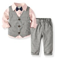 Fasahion KIds Clothes Children Suits Boy Vest+Shirt+Pants+Bow 4Pcs Child Costume Clothing Party Sets 1-6Y 210507