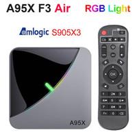 جديد A95X F3 الهواء RGB ضوء TV صندوق AMLogic نوع S905X3 الروبوت 9.0 4GB 32GB المزدوج واي فاي A95XF3 X3 صندوق التلفزيون الذكية