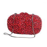 Вечерние сумки Xiyuan Женщины Кристалл Ночной Кошелек Металл Жерание Свадебные Британские Сумки Свадьба Вечеринка Сумка Сцепление Red1