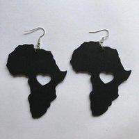매달려 샹들리에 블랙 퀸 우드 아프리카지도 중공 밖으로 심장 귀걸이 빈티지 파티 아프리카 아프리카 쥬얼리 나무 DIY 클럽 선물 귀걸이