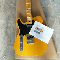 최고 품질 저렴한 가격 GYTL-2029 왼손 옐로우 컬러 솔리드 바디 블랙 픽 가드 메이플 fretboard 6 문자열 TL 일렉트릭 기타