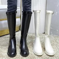 Primavera otoño lujo mujer beige negro rodilla botas altas dama occidental montando botas largas moda dama baja tacones muslo alto