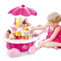 39pcs niños fingir jugar juguetes simulación caramelo música helado mini empuje coche juguete Educación temprana juguetes para niños Girl Regalos LJ201211