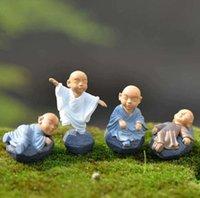 Kung fu cartoon monaco figurine mini monaco ornamenti decorazione terrarium decorazione muschio succulente micro paesaggio resina monaco artigianato bambini giocattolo SN2031