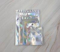 2020j Couleur holographique Multiple Taille Souches d'odeur Sacs 100 pièces Sacs de mylar refermables Clear Zip Serrure à glissière Candy Sacs d'emballage