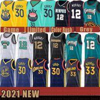 "2021 Nouveau Memphis ""Grizzlies"" New Golden Hommes State ""Warriors"" Jersey Stephen 30 Curry James 33 Wiseman Ja 12 Morant Black"