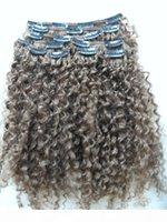 Clips de remie de la Vierge humaine brésilienne Extensions de cheveux Kinky Curls Courtielle Thermique Médum Brown 4 # Couleur