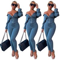 Sets Frauen Zipper Langarm mit Kapuze T-Shirts und dünne Hosen Normallack beiläufige Frauen 2pcs Hosen Kleidung Sexy Zweiteiler