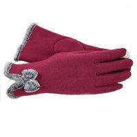 Luvas de tela de toque de mulheres bonitas inverno luvas morno mittens1