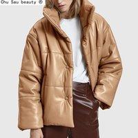 Chu Sau Beauty Solide PU Cuir Coton Parkas Femmes Mode Haute Imitation Cuir Manteaux Femmes Élégant Coton épais Vestes Lady 201127