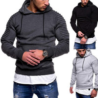 2020 New Solid Hooded Sweatshirts Men Autumn Pleated Mens Ho...