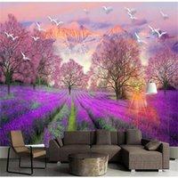 formato personalizzato 3d foto wallpaper mural wall sticker divano camera da letto soggiorno lavanda sole uccello immagine 3d TV sfondo carta da parati in seta