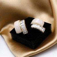 Amorcome corea mode blanc zircon zircon boucles d'oreilles boucles d'oreilles chat yeux pierre boucles d'oreilles oreille tempérament simple tempérament femme bijoux 20201