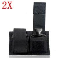 블랙 2x 리볼버 더블 스피드 로더 파우치 허리 저장 봉투 .22.38 .357 .45