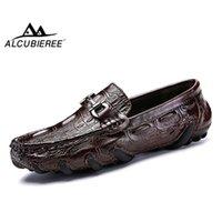 Alcubieree Echtes Leder Müßiggänger Herren Luxus Slip auf Mokassins Casual Driving Schuhe mit Pelz Winter Warme Schuhe Männer Bootsschuhe 201103