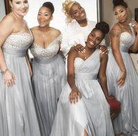 Mix Stiller Elbiseler V yaka 3/4 Uzun Kollu A-line Kat uzunlukta şifon Bir Omuz Gelinlik Modelleri Düğün Kız Giydirme Fermuar Geri