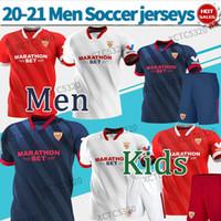 إشبيلية FC Soccer Jersey # 10 I.Akitic # 9 de Jong 2020 2021 الصفحة الرئيسية قميص كرة القدم الثالث تخصيص زي كرة القدم الرجال + أطفال