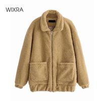 Women's Fur & Faux Wixra Womens Casual Khaki Coat Ladies Zipper Outwear Jacket Loose Lamb Wool Street Style Overcoat Autumn Winter