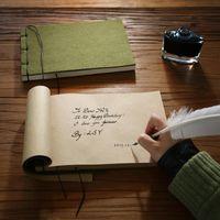 Notepads الجيش الأخضر خمر دفاتر كتاب تذكير بروبيل جلد البقر ورقة فارغة المسافر 120 ورقة (240pages)