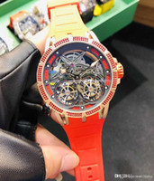 Designer-Uhren Excalibur RDDBEX0599 Skeleton Dial Japan Miyota Automatik Double Tourbillon Herrenuhr Rote Fall-Schwarz-Gummibügel Hohe Qua