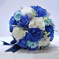 Flores Artificiais Azul Silk Rosa Noiva Noiva Segurando Flower Photography Props Casamento Decoração Acessórios1