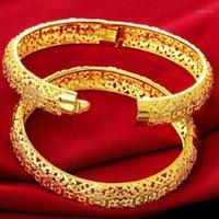 Bangle Filigree Floral Amarelo Ouro Cheio Estilo Clássico Hollow Womens Pulseira Dia 6cm (2,4 polegadas) 1