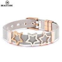 Anklets Corner Code Jóias Double Color Malha Braceletes Com Cristal Star Slide Charms Pandoro para Mulheres Presente