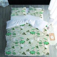 침구 세트 아침 영광 duvet 커버 녹색 꽃 세트 럭셔리 3pcs 퀼트 단일 더블 홈 섬유 고품질 침대보