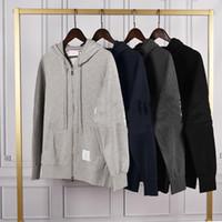 2020 TB Neue Vier-Bar-Männer und Frauen derselbe Reißverschluss mit Kapuze Pullover Klassische Baumwolle Beiläufige Jacke Freies Verschiffen