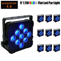 10PCS / 많은 9x12W 4IN1 RGBW LED 파 빛 높은 품질 DMX512 4/7 채널 평면 LED 파 라이트 DJ 장비 주도 무대 조명없이 무선