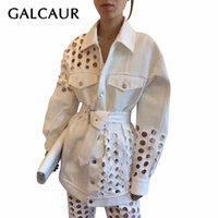 GALCAUR Корейского Denim Hole куртка женщины нагрудного ошейник с длинным рукавом высокой талии пояс выдалбливает пальто Женского Мода Tide 201013