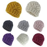 Unisex Winter Warm Twist Knitted Beanie Hat Rhombus Plaid Chunky Weave Solid Color Outdoor Ski Stretchy Cuffed Skull Cap