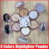 Visage Highlighters Bronze Glow Bronze Tout au-dessus de la poudre de poudre de surligneur Maquillage Rose Fleur éclaircissant Mise en évidence de poudre pressée 6 couleurs