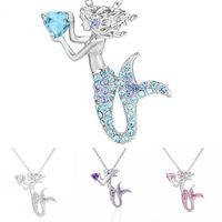 Sirena colgantes collar aleación plateado plateado cadena clavícula encantos mujeres diamantes de imitación collares moda joyería blanco azul 3 2hja l2