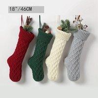 Borsa regalo di Natale Socks Large Size 46cm a maglia di lana della decorazione della casa Candy Bag Calzini Linea tratteggiata Calzini dell'ornamento calza natale CZ111302