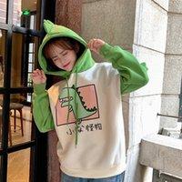 Yupinciaga mulheres com capuz dinossauro impressão morna pulôveres espessura lã de lã de bateu cor com chifres harajuku adolescentes hoodies meninas 201203
