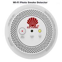 Akıllı Ev Sensörü Kablosuz Duman Alarm Dedektörü Ile 1080 P Wifi Po Kamera Uzaktan Ses Duyuru LED Göstergesi Yanıp Sönüyor1
