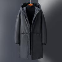 Men Down Jacket noir et gris Puffer Manteau SoftSell Manteau d'hiver des hommes d'hiver à capuchon vers le bas à long Outfit vêtements décontractés en plein air chaud épais -2