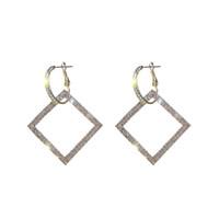925 Silber Nadel Euramerican Hyperbole Set Diamant Square Mode Ohrringe Weibliche Korea Lange Stil Persönlichkeit Ohr Nagel Ohrringe