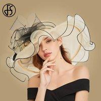 FS Big Fleur Summer Sun Chapeaux pour femmes Bege Beige Beige Organza Tea Bonnet élégant Mesdames Churie Kentucky Derby large Bronge Fedoras T200602