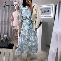 Günlük Elbiseler Simplee Flare Kollu Elbise Ofis Bayanlar Yüksek Bel Kemer Midi Zarif Çiçek Baskılı Cambridge Mavi 20211