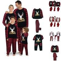 패밀리 세트 의류 크리스마스 잠옷 잠옷 크리스마스 잠옷 세트 탑과 바지 부모 아이 옷 부모 - 자식 크리스마스 파티 FY9251