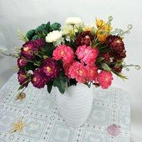 Flores decorativas grinaldas 7 cabeça multicamada simulação margarida flor seda artificial crisântemo diy bouquet caseiro casamento flores festa d