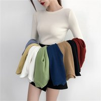 Gumprun mulheres selvagens brancas suéter inverno tops slim apertado suéteres moda mulheres o-pescoço de malha casual manga longa pulôver