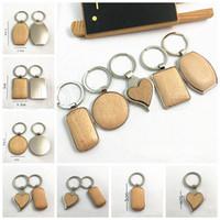 Creativo fai da te metallo legno catene portachiavi chiave rotonda rettangolo di cuore vuoto chiave di legno portachiavi del titolare del regalo di favore di partito RRA3794