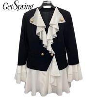 Женские костюмы Blazers Gestpring Женщины Blazer Roots Patchwork Color Matching Куртки Поддельные две старинные длинные женские пальто 2021
