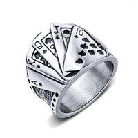 JHSL große große Poker Ringe für Männer Silber Farbe 316L Edelstahl Modeschmuck Jubiläumsgeschenkgröße 7 8 9 10 11 121