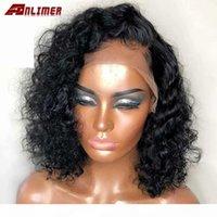 Jerry Court Court Court Court Dentelle Front Human Hair Perruques pour femmes noires Brésilien Remy Cheveux Deep Wave Dentelle Frontal Bob Perruques avec cheveux